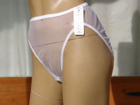 """NANCY KING"" ULTRA SEE NYLON/CHIFFON HIGH LEG KNICKERS  SIZES:- X SMALL/SMALL USA - 4-5"